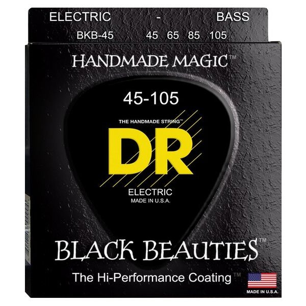 DR Strings DR Strings BKB-45 Medium BLACK BEAUTIES  - BLACK Coated Bass: 45, 65, 85, 105