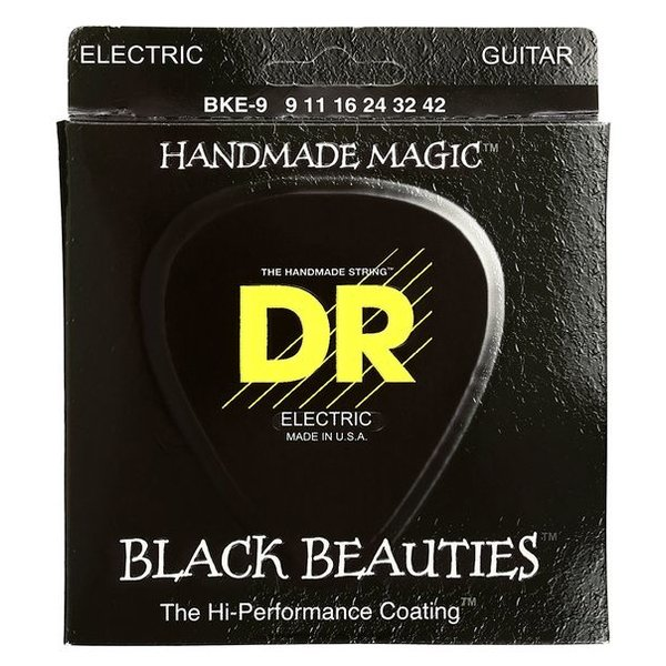 DR Strings DR Strings BKE-9 Light-Tight BLACK BEAUTIES Coated Elec: 9, 11, 16, 24, 32, 42