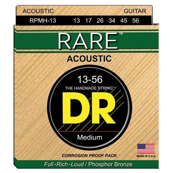 DR Handmade Strings DR Strings RPMH-13 Medium RARE Phosphor Bronze Acoustic: 13, 17, 26, 34, 45, 56