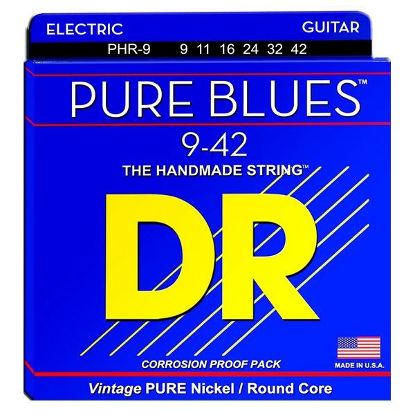 DR Strings DR Strings PHR-9 Light PURE BLUES Pure Nickel Electric: 9, 11, 16, 24, 32, 42