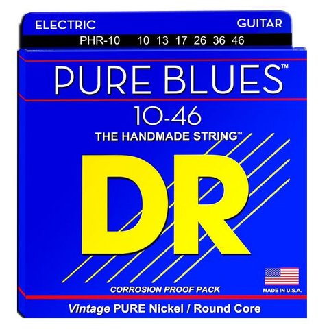 DR Strings PHR-10 Medium PURE BLUES Pure Nickel Electric: 10, 13, 17, 26, 36, 46