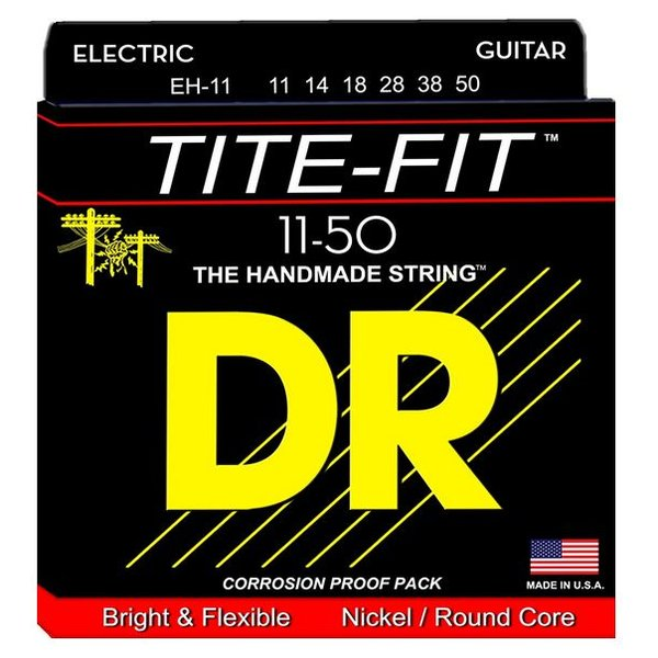 DR Handmade Strings DR Strings EH-11 Heavy Tite-Fit Nickel Plated Electric: 11, 14, 18, 28, 38, 50