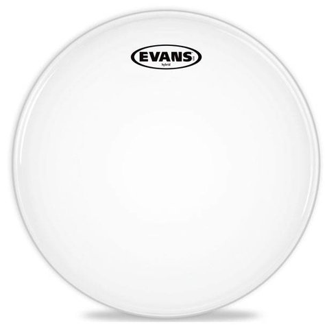 Evans Hybrid White Marching Snare Drum Head, 14 Inch