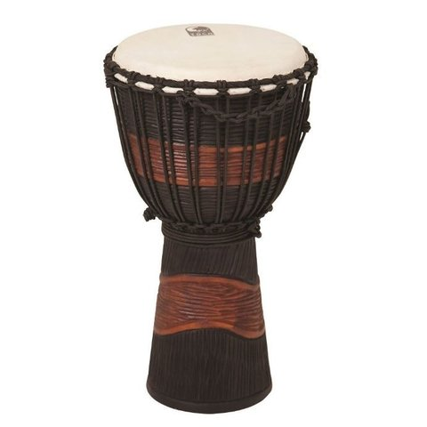 Toca TSSDJ-LB Street Series Rope Tuned Wood Djembe Small Brown and Black Stain
