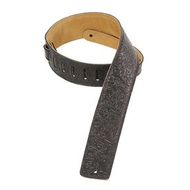 "Levy's Leathers Levy's DM1FF-BLK 2.5"" Garment Leather Guitar Strap w Florentine Embossing Black"