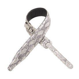 "Levy's Leathers Levy's PC17MS-SLV 2.5""  Leather Guitar Strap with Metallic Snakes Silver"