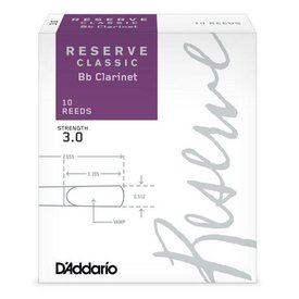 Rico D'Addario Reserve Classic Bb Clarinet Reeds, Box of 10