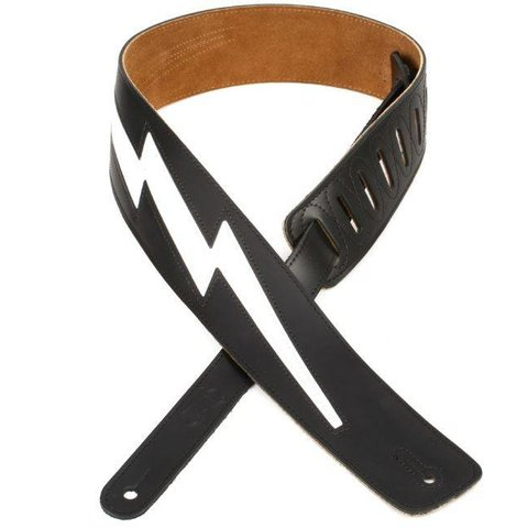 "Levy's DM2-BLK 2.5"" Top Grain Leather Guitar Strap Black"