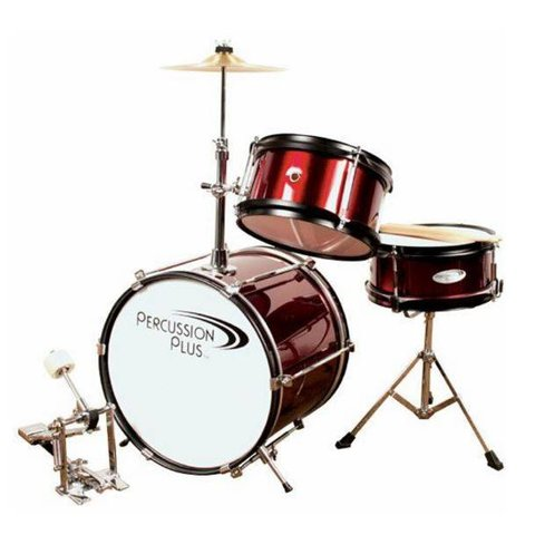 Percussion Plus PPJR3WR 3-Piece Junior Drum Set, Wine Red