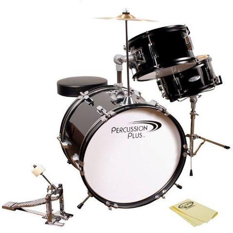 Percussion Plus PPJR3BK 3-Piece Junior Drum Set, Black