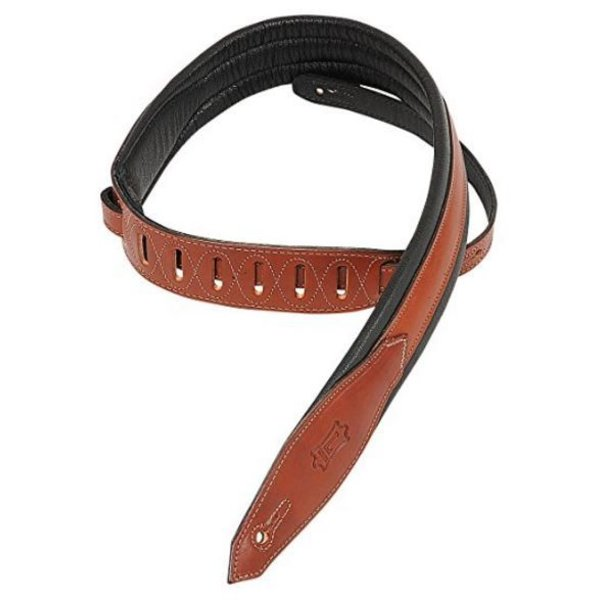 "Levy's Leathers Levy's MSS80-WAL 2"" Carving Leather Guitar Strap with Foam Padding"