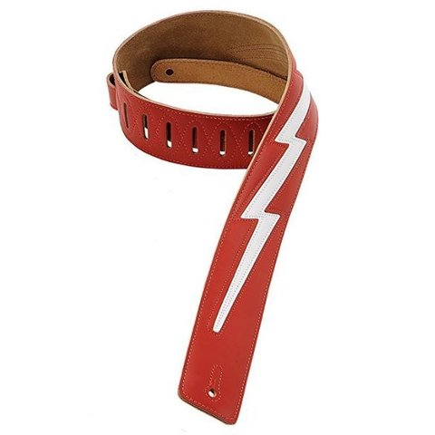 """Levy's DM2-RED 2.5"""" Leather Guitar Strap with Leather Lightning"""