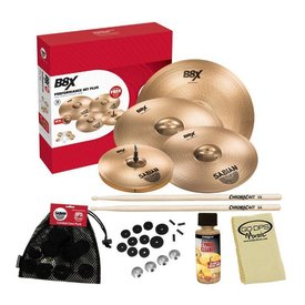"Sabian Sabian B8X Performance Set Plus With 14"" Hi-Hats, 16"" Thin Crash, 18"" Thin Crash, 20"" Ride, Felts, and Cleaning Accessories"