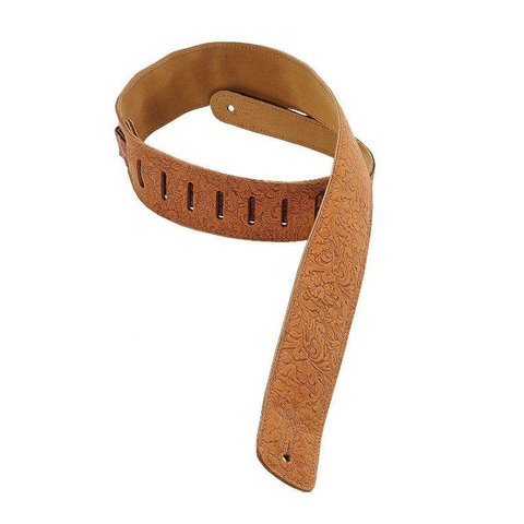 "Levy's DM1FF-BRN 2.5"" Garment Leather Guitar Strap w Florentine Embossing Brown"