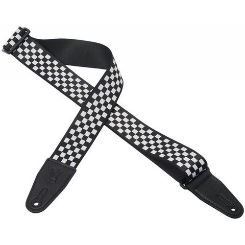 "Levy's MP28 2"" Polyester Guitar Strap with Black & White Checkered Graphic"