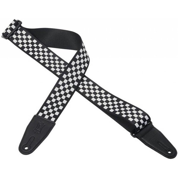 "Levy's Leathers Levy's MP28 2"" Polyester Guitar Strap with Black & White Checkered Graphic"