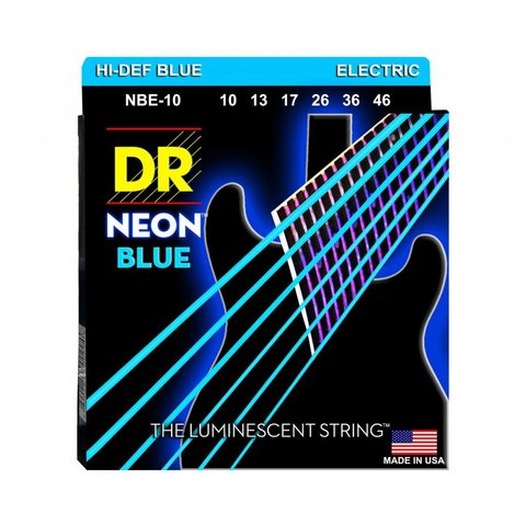 DR Strings NBE-10 Med Hi-Def NEON BLUE: Coated Electric: 10, 13, 17, 26, 36, 46