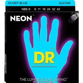 DR Strings DR Strings NBE-9 Light Hi-Def NEON BLUE: Coated Electric: 9, 11, 16, 24, 32, 42
