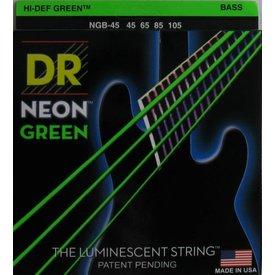 DR Strings DR Strings NGB-45 Medium 5's Hi-Def NEON GREEN: Coated Bass Strings: 45, 65, 85, 105
