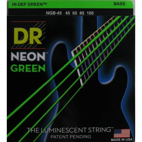 DR Strings NGB-45 Med 5's Hi-Def NEON GREEN Coated Bass Strings: 45, 65, 85, 105
