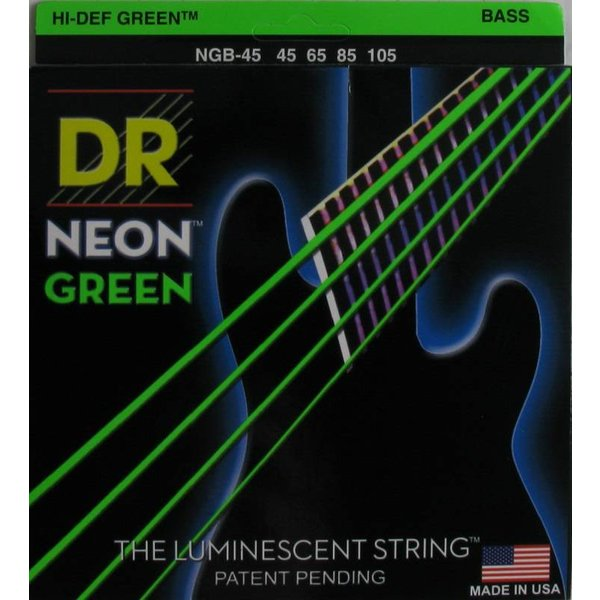 DR Handmade Strings DR Strings NGB-45 Med 5's Hi-Def NEON GREEN Coated Bass Strings: 45, 65, 85, 105