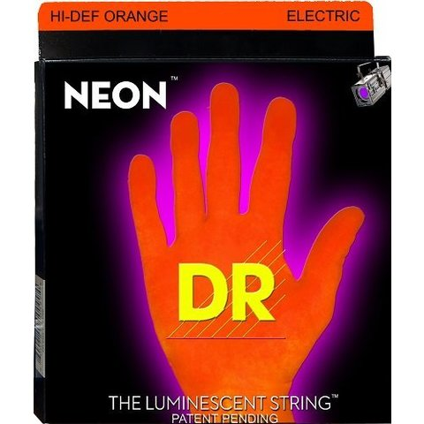 DR Strings NOE-9 Light Hi-Def NEON ORANGE Coated Electric: 9, 11, 16, 24, 32, 42