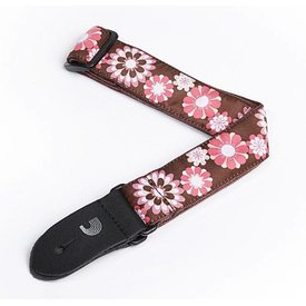 "Planet Waves D'Addario 1.5"" Nylon Ukulele Strap - Brown and Pink Flowers"