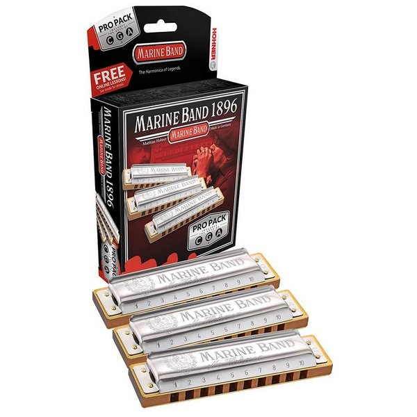 Hohner Hohner 3P1896BX Marine Band 3 Pack Keys of C, G, A