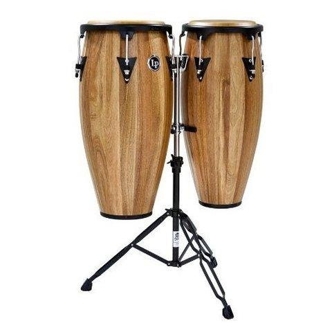 LP Aspire 11'' & 12'' Wood Conga Set w/ Double Stand Siam Walnut