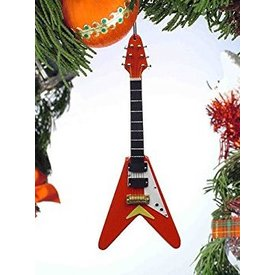 Music Treasures Co. Red Electric Guitar V-Ornament