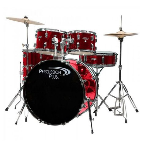 Percussion Plus 5-Pc Drum Set - Brushed Red