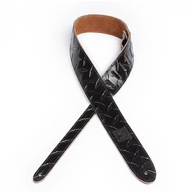 "Planet Waves D'Addario 2"" Leather Embossed Guitar Strap Diamond Plate Design - Black"