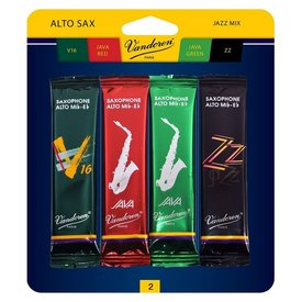 Vandoren Vandoren Alto Sax Jazz Reed Mix Card includes 1 each ZZ, V16, Java and Java Red