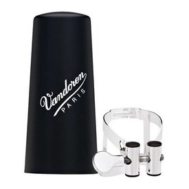 Vandoren Vandoren M|O Ligature and Plastic Cap for Eb Clarinet; Silver Plated