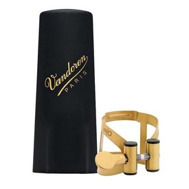 Vandoren Vandoren M|O Ligature and Plastic Cap for Soprano Saxophone; Aged Gold Finish