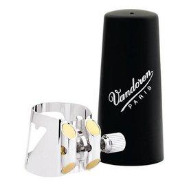 Vandoren Vandoren Optimum Ligature & Plastic Cap for Bass Clar; Slvr-Pltd; 3 Interchangeable Pressure Plates