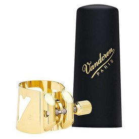 Vandoren Vandoren Optimum Ligature and Plastic Cap for Soprano Saxophone; Gilded; Includes 3 Interchangeable Pressure Plates
