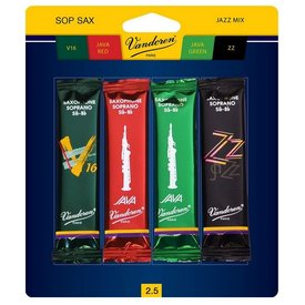 Vandoren Vandoren Soprano Sax Jazz Reed Mix Card includes 1 each ZZ, V16, Java and Java Red