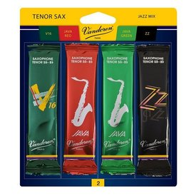 Vandoren Vandoren Tenor Sax Jazz Reed Mix Card includes 1 each ZZ, V16, Java and Java Red