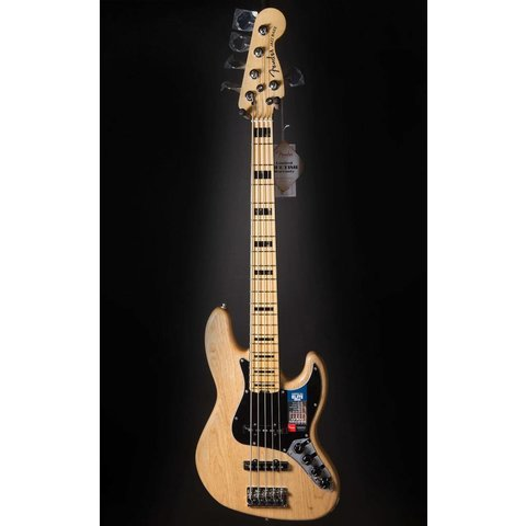 American Elite Jazz Bass V Ash, Maple Fingerboard, Natural