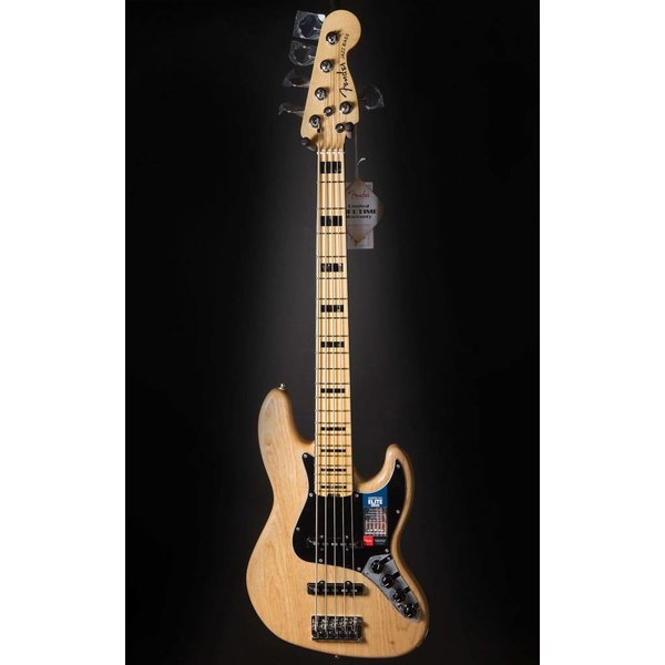 Fender American Elite Jazz Bass V Ash, Maple Fingerboard, Natural