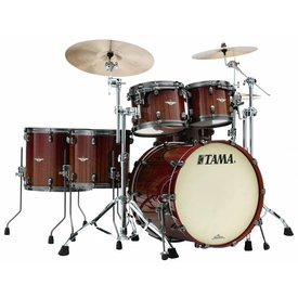 TAMA Tama Starclassic Bubinga Exotix Tigerwood 5Pc Shell Kit With Smoked Black Nickel Shell Hardware In Crimson Tigerwood Fade Finish