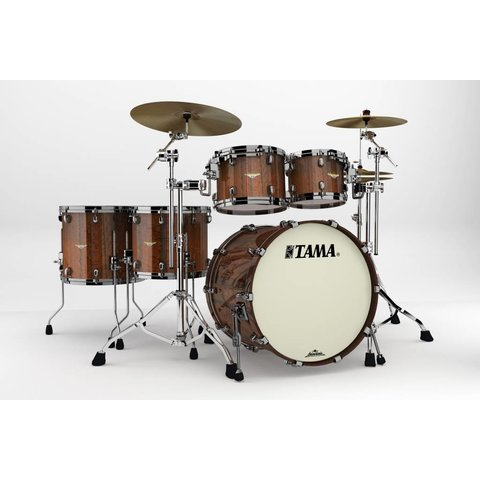 Tama Starclassic Bubinga Exotix Tigerwood 5Pc Shell Kit With Black Nickel Shell Hardware In Midnight Tigerwood Fade Finish