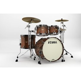 TAMA Tama Starclassic Bubinga Exotix Tigerwood 4Pc Shell Kit w Blk Nkl Shell HW, Midnight TW Fade