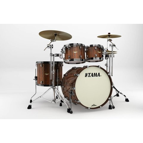 Tama Starclassic Bubinga Exotix Tigerwood 4Pc Shell Kit With Black Nickel Shell Hardware In Midnight Tigerwood Fade Finish