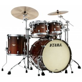 TAMA Tama Starclassic Bubinga Exotix Tigerwood 4Pc Shell Kit w/ Chrm Shell HW, Midnight Tigerwood Fade