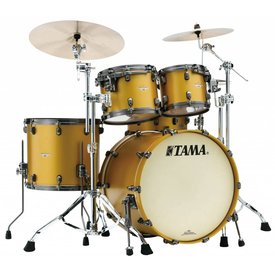 TAMA Tama Starclassic Bubinga 4Pc Shell Kit With Smoked Black Nickel Shell Hardware In Satin Aztec Gold Metallic Finish
