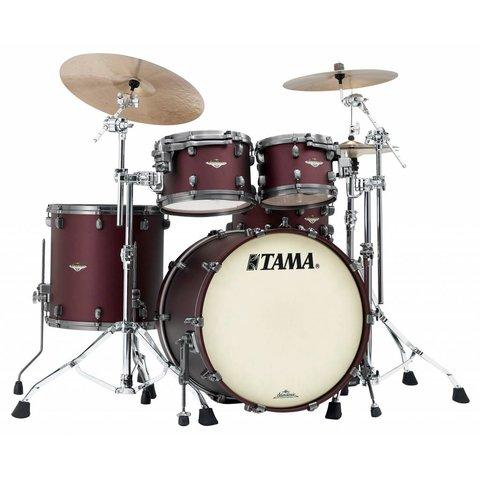 "Tama Starclassic Maple 22""Bd 5Pc Shell Kit With Smoked Black Nickel Shell Hardware In Flat Burgundy Metallic Finish"