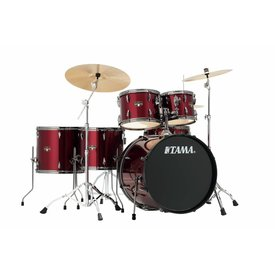 TAMA Tama Imperialstar 6Pc Complete Kit With Meinl Hcs Cymbals In Vintage Red Finish + Black Nickel Shell Hardware