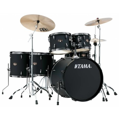 Tama Imperialstar 6Pc Complete Kit w Meinl Hcs Cym, Blked Out Blk Finish + Blk Nkl Shell HW